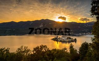 San Giulio island sunset