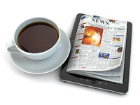 News on tablet pc with coffee cup.