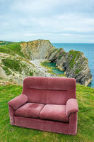 sofa at the top of the hill , uk , dorset,