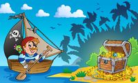 Pirate theme with treasure chest 3 - picture illustration.