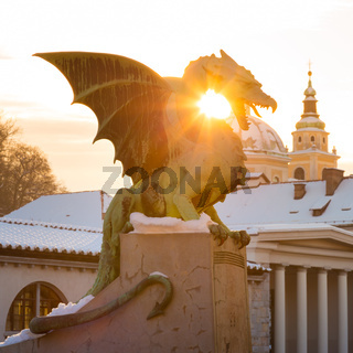 Dragon bridge, Ljubljana, Slovenia, Europe.