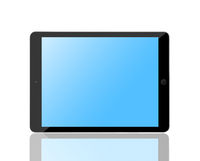 Computer tablet with blank blue screen.