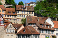 half-timbered houses in the old town of Schwäbisch Hall, Germany