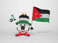 Soccer character fan supporting Jordan