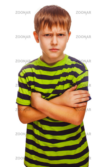 angry teenage boy child feels anger blonde in a striped green sh