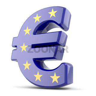 Euro currency sign and Europe Union flag.