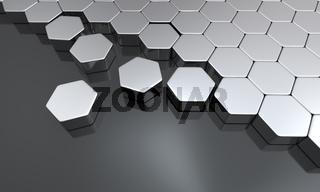 Silber Sechseck Baustein Konzept auf Schwarz