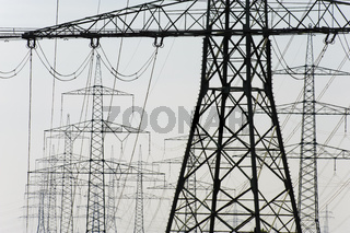 panorama of electric power poles