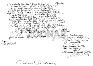 Historic manuscript, 1640, by Andreas Gryphius also known as Andreas Greif, 1616 - 1664, a German poet