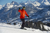 Skier greeting on a ski slope, Bernese Alps,Switz