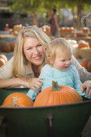 Young Mother and Daughter Enjoys the Pumpkin Patch
