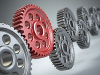 Machine gears. Teamwork concept.