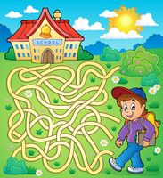Maze 4 with schoolboy - picture illustration.