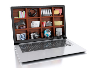 3d laptop and multimedia. coceptual image