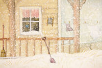 Front porch in snow with clothesline, digitally al