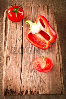 Fresh organic tomatoes and paprika