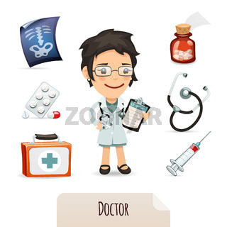 Medical set with a female doctor