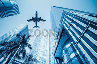airplane and business buildings
