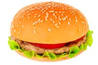 Big hamburger on white background