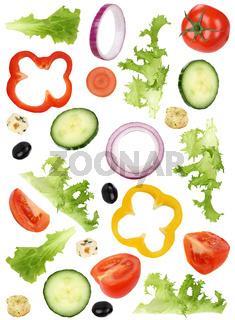 Zutaten für Salat mit Tomate, Gurke, Zwiebel und Paprika