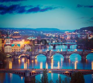 Panoramic view of Prague bridges over Vltava river from Letná Park