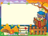 Autumn frame with owl teacher 4 - picture illustration.