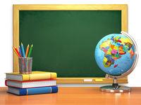 School education concept. Blackboard, books, globe and pencils.