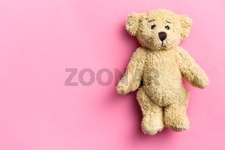 teddy bear on pink background