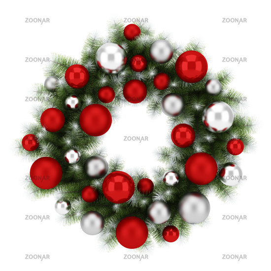 ornate christmas wreath isolated on white