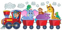 Train with happy animals - picture illustration.