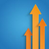 Three Orange Arrows Growth Blue Background PiAd