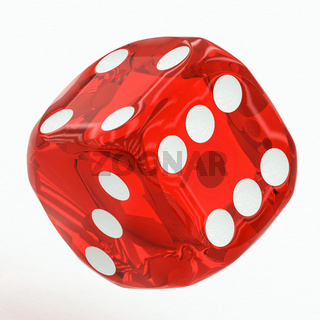 one red dice falling