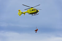 Rescue helicopter Eurocopter in action