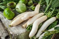 Daikon radish and eggplant at asian market