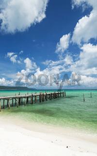 sok san pier on long beach in koh rong island cambodia