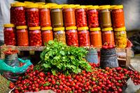Coriander, chillis and jars