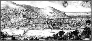 Historical  cityscape, Heidelberg, Germany, 17th Century,