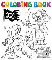 Coloring book pirate thematics 1 - picture illustration.