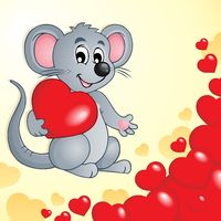 Valentine theme with mouse and hearts - picture illustration.