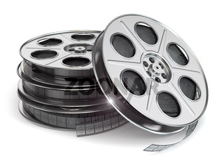 Film reels on white isolated background.