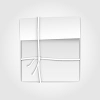 Gift package box with paper ribbon. Illustration