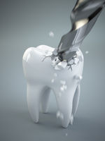 Concept of toothache. Drilling a tooth.