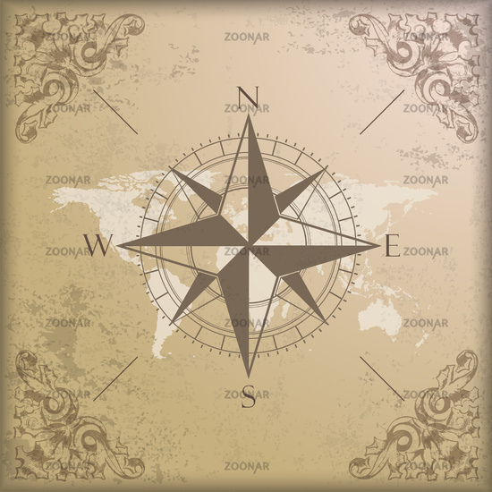 Vintage Background Edge Ornaments Compass World Map