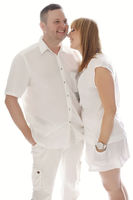 Very Happy Couple in White Outfit