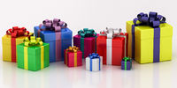 many-colored gift boxes with varicolored ribbon