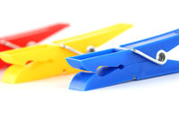 colored clothespins isolated on white background