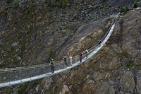Span ribbon bridge across the Massaschlucht canyon