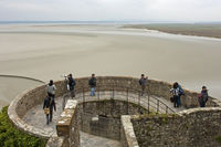 mudflats at low tide at the abbey Mont St Michel