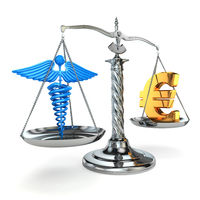 Choice health or money. Caduceus and euro signs on scales.