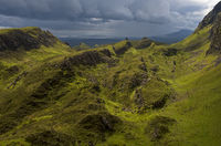 Bad weather front in the Quiraing mountain, UK
